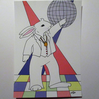 A5 Print of Bunny Rabbit Disco Dancing Dancer Art Picture Limited Edition