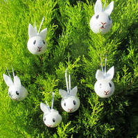 1x Bunny Rabbit Pet Head Bauble Hanging Decorations Christmas Easter White