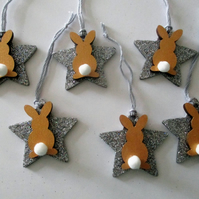 Christmas Tree Decorations Mini Bunny Rabbit Glittery Baubles Wreath Garland