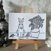 A5 Print Bunny Rabbit Van Gogh Sunflower Cartoon Bunnies Monochrome Picture Art