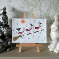 A5 Print of Bunny Rabbit Witch Hallowe'en Art Picture Limited Edition