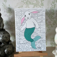 A5 Print of Bunny Rabbit Mermaid Merbunny Art Picture Limited Edition