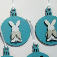 Bunny Rabbit Hanging Decoration Christmas Tree Bauble Angel Wings Pet Memorial
