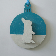 Bunny Rabbit Hanging Decoration Christmas Tree Bauble Snow Winter Snowbunny