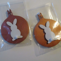 Bunny Rabbit Hanging Decoration Christmas Tree Bauble Copper Colour