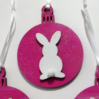 Bunny Rabbit Hanging Decoration Christmas Tree Bauble White Pink
