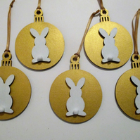 Bunny Rabbit Hanging Decoration Christmas Tree Bauble Gold Colour