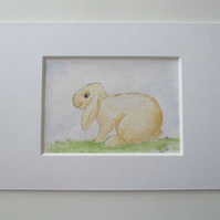 ACEO Bunny Rabbit Original Mixed Media Painting Art Picture Lop Eared