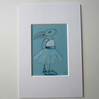 ACEO Bunny Rabbit Ballerina Ballet Dancing Rabbit Original Painting Degas