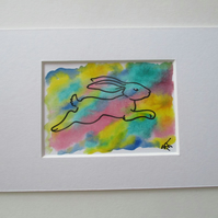 ACEO Bunny Rabbit Original Mixed Media Painting Art Picture Rainbow Memorial