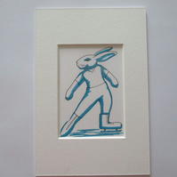 ACEO Ice Skating Bunny Rabbit Original Miniature Painting Skater Dancer Dancing