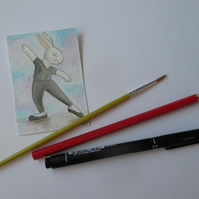 ACEO Bunny Rabbit Ballerina Ballet Dancing Bunny Rabbit Original Painting 003