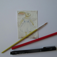 ACEO Bunny Rabbit Ballerina Ballet Dancing Bunny Rabbit Original Painting 004