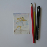 ACEO Bunny Rabbit Ballerina Ballet Dancing Bunny Rabbit Original Painting 005