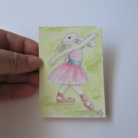ACEO Bunny Rabbit Ballerina Ballet Dancing Bunny Rabbit Original Painting 006