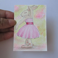 ACEO Bunny Rabbit Ballerina Ballet Dancing Bunny Rabbit Original Painting 007