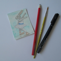 ACEO Bunny Rabbit Ballerina Ballet Dancing Bunny Rabbit Original Painting 009