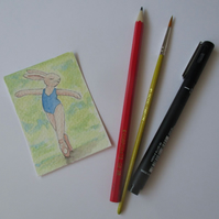 ACEO Bunny Rabbit Ballerina Ballet Dancing Bunny Rabbit Original Painting 011