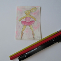 ACEO Bunny Rabbit Ballerina Ballet Dancing Bunny Rabbit Original Painting 013