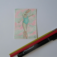 ACEO Bunny Rabbit Ballerina Ballet Dancing Bunny Rabbit Original Painting 014