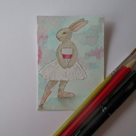ACEO Bunny Rabbit Ballerina Ballet Dancing Bunny Rabbit Original Painting 016