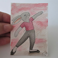 ACEO Bunny Rabbit Ballerina Ballet Dancing Bunny Rabbit Original Painting 017