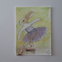 ACEO Bunny Rabbit Ballerina Ballet Dancing Bunny Rabbit Original Painting 018