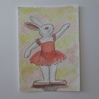 ACEO Bunny Rabbit Ballerina Ballet Dancing Bunny Rabbit Original Painting 019
