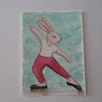 ACEO Bunny Rabbit Ballerina Ballet Dancing Bunny Rabbit Original Painting 021