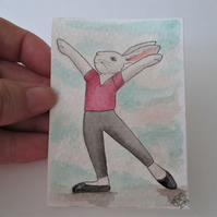 ACEO Bunny Rabbit Ballerina Ballet Dancing Bunny Rabbit Original Painting 022