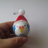 Budgie Christmas Tree Bauble Hanging Decoration Santa Hat Blue Bird Budgerigar