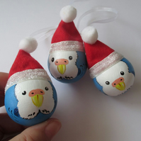 3x Budgie Christmas Tree Bauble Hanging Decoration Blue Bird Budgerigar