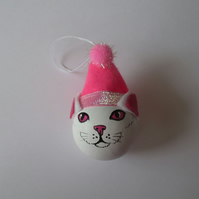 Cat Christmas Tree Bauble Hanging Decoration Santa Hat Pink and White