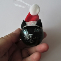 Cat Christmas Tree Bauble Hanging Decoration Santa Hat Black and Red