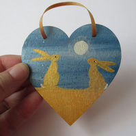 Bunny Rabbit Love Heart Moon Gazing Gold Golden Hare Hanging Decoration 009
