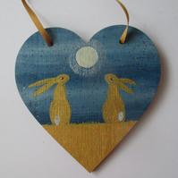 Bunny Rabbit Love Heart Moon Gazing Gold Golden Hare Hanging Decoration 010