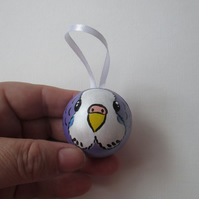 Budgie Budgerigar Bird Hanging Decoration Hand Painted Bauble Christmas Tree