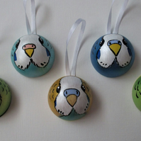 Set of 5 Budgie Budgerigar Baubles Hanging Decorations Bird Christmas Tree