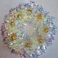 Christmas Wreath Tinsel with Bunny Rabbit Hand Painted Bauble Heads Pearl Gold