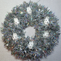 Christmas Wreath Tinsel with Bunny Rabbit Hand Painted Bauble Heads White Silver