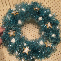 Bunny Rabbit Star Christmas Wreath Tinsel Blue White Silver Gold Roses