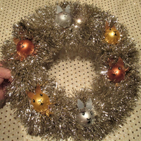 Bunny Rabbit Bauble Head Christmas Wreath Tinsel Silver Copper Gold