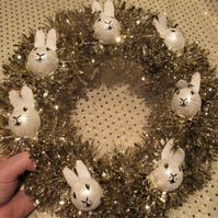 Bunny Rabbit Bauble Head Christmas Wreath Tinsel White Gold