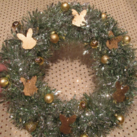 Bunny Rabbit Christmas Wreath Tinsel Green Silver  Gold Head Bauble