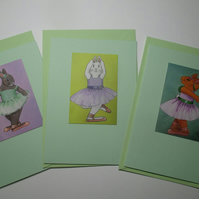 Bunny Rabbit Blank Greetings Card Set Green x 3 Notelet