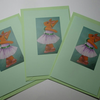 Bunny Rabbit Blank Greetings Card Set Green x 3 Notelet Ballet Dancer