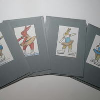Bunny Rabbit Blank Greetings Card Set Grey x 4 Notelet Ice Skating Dancer