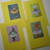 Bunny Rabbit Blank Greetings Card Set Yellow x 4 Notelet Ballet Dancer