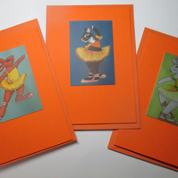 Bunny Rabbit Blank Greetings Card Set Orange x 3 Notelet Ballet Ballerina