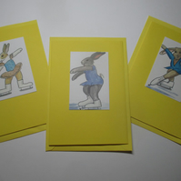 Bunny Rabbit Blank Greetings Card Set Yellow x 3 Notelet Ice Skating